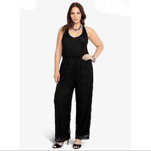 Torrid black wide leg lace jumpsuit